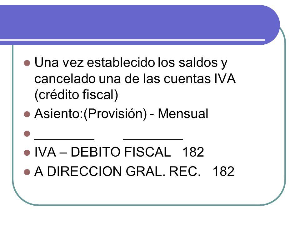 Una vez establecido los saldos y cancelado una de las cuentas IVA (crédito fiscal) Asiento:(Provisión) - Mensual ________ ________ IVA – DEBITO FISCAL