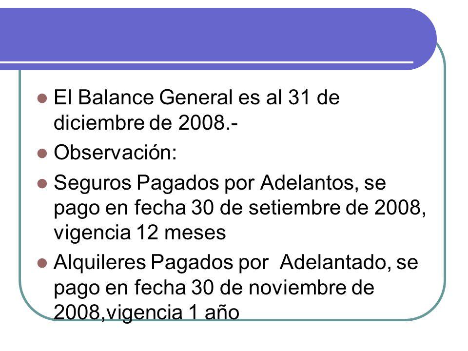 El Balance General es al 31 de diciembre de 2008.- Observación: Seguros Pagados por Adelantos, se pago en fecha 30 de setiembre de 2008, vigencia 12 m
