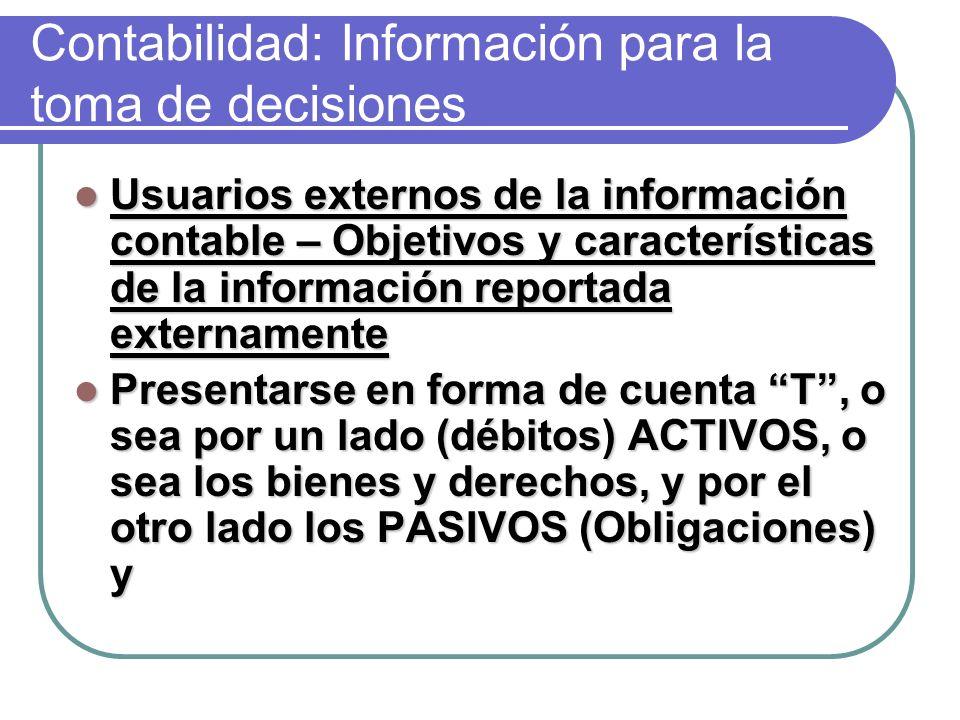 Contabilidad: Información para la toma de decisiones Usuarios externos de la información contable – Objetivos y características de la información reportada externamente Usuarios externos de la información contable – Objetivos y características de la información reportada externamente Presentarse en forma de cuenta T, o sea por un lado (débitos) ACTIVOS, o sea los bienes y derechos, y por el otro lado los PASIVOS (Obligaciones) y Presentarse en forma de cuenta T, o sea por un lado (débitos) ACTIVOS, o sea los bienes y derechos, y por el otro lado los PASIVOS (Obligaciones) y