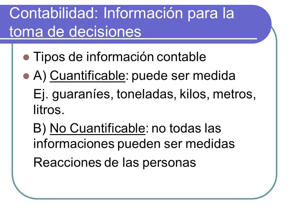 Contabilidad: Información para la toma de decisiones Tipos de información contable A) Cuantificable: puede ser medida Ej.