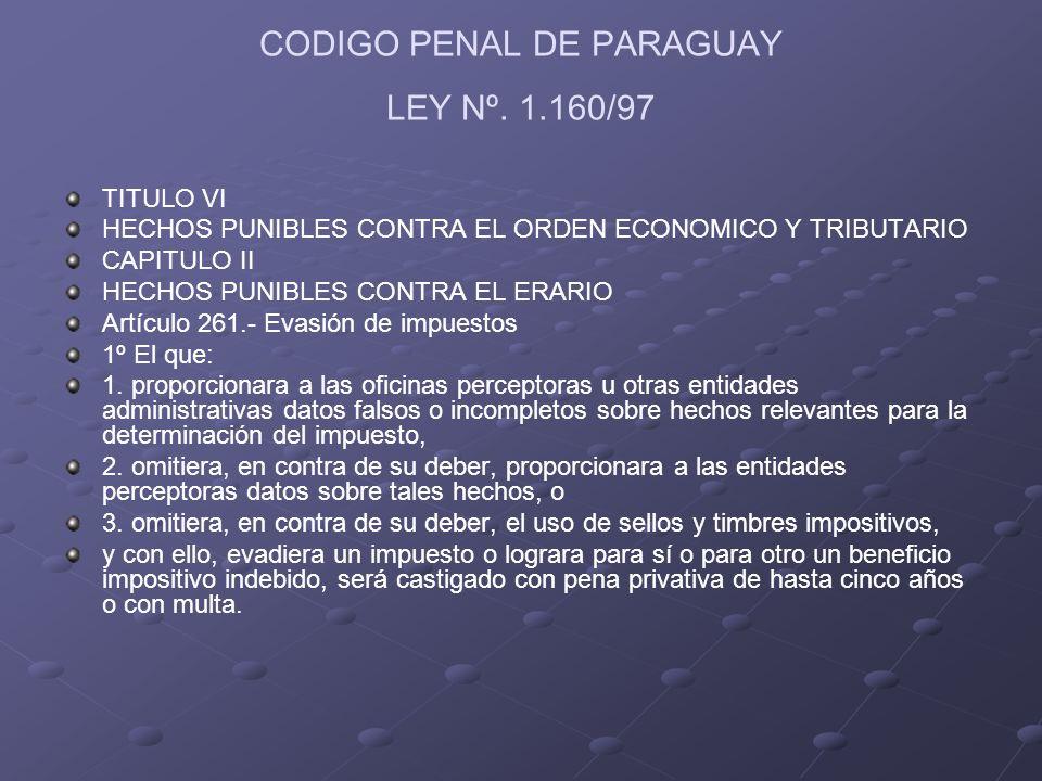 CODIGO PENAL DE PARAGUAY LEY Nº. 1.160/97 TITULO VI HECHOS PUNIBLES CONTRA EL ORDEN ECONOMICO Y TRIBUTARIO CAPITULO II HECHOS PUNIBLES CONTRA EL ERARI