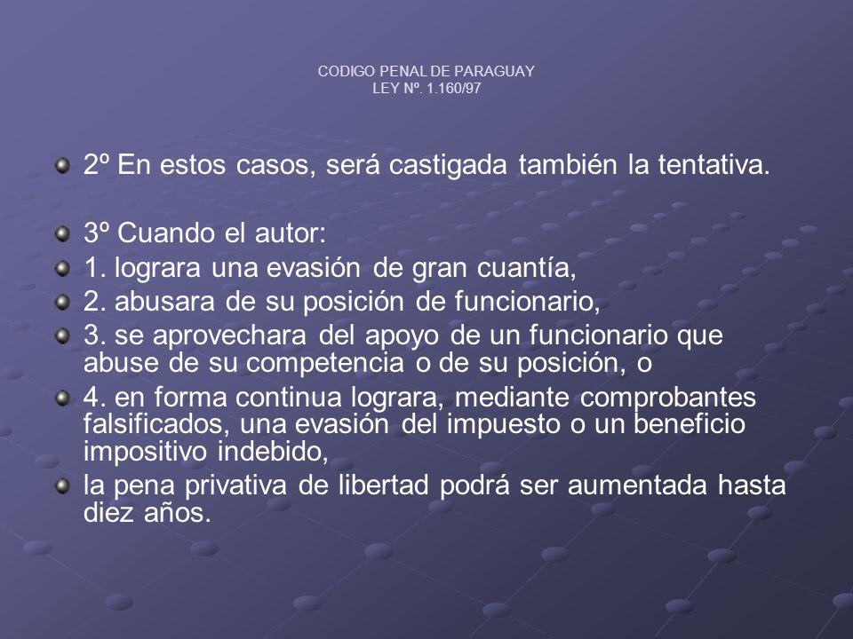 CODIGO PENAL DE PARAGUAY LEY Nº. 1.160/97 2º En estos casos, será castigada también la tentativa. 3º Cuando el autor: 1. lograra una evasión de gran c