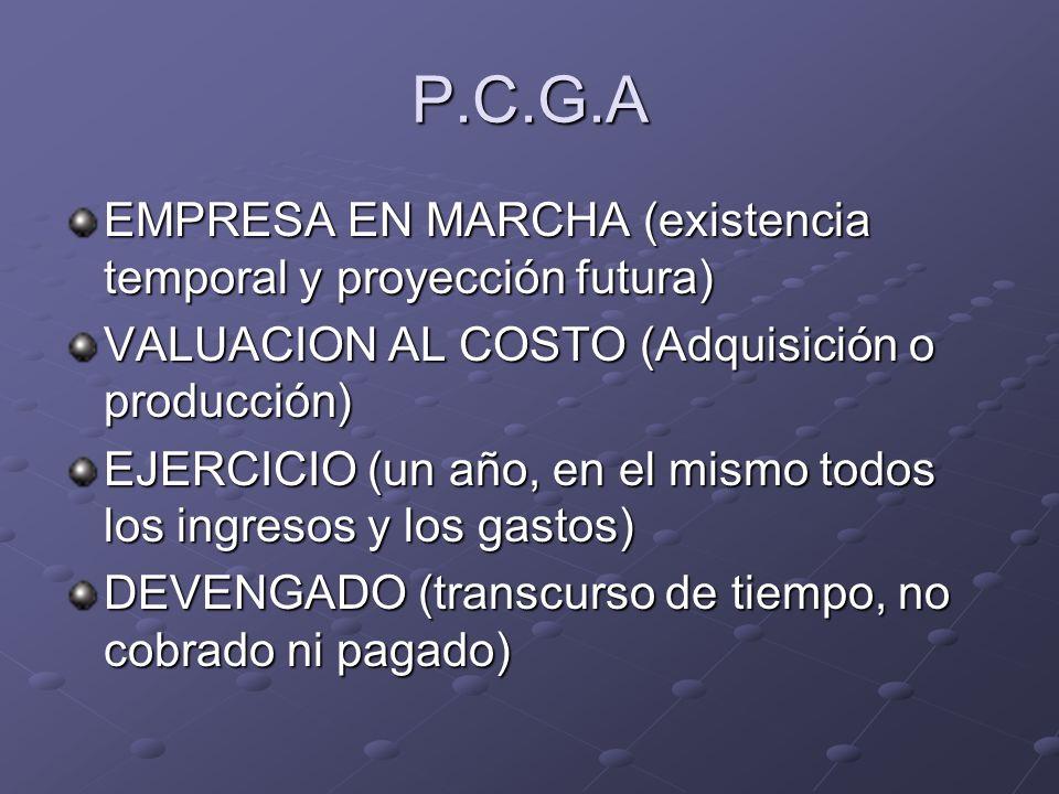 P.C.G.A EMPRESA EN MARCHA (existencia temporal y proyección futura) VALUACION AL COSTO (Adquisición o producción) EJERCICIO (un año, en el mismo todos