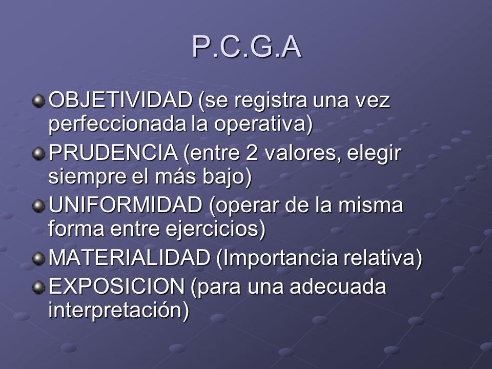 P.C.G.A OBJETIVIDAD (se registra una vez perfeccionada la operativa) PRUDENCIA (entre 2 valores, elegir siempre el más bajo) UNIFORMIDAD (operar de la