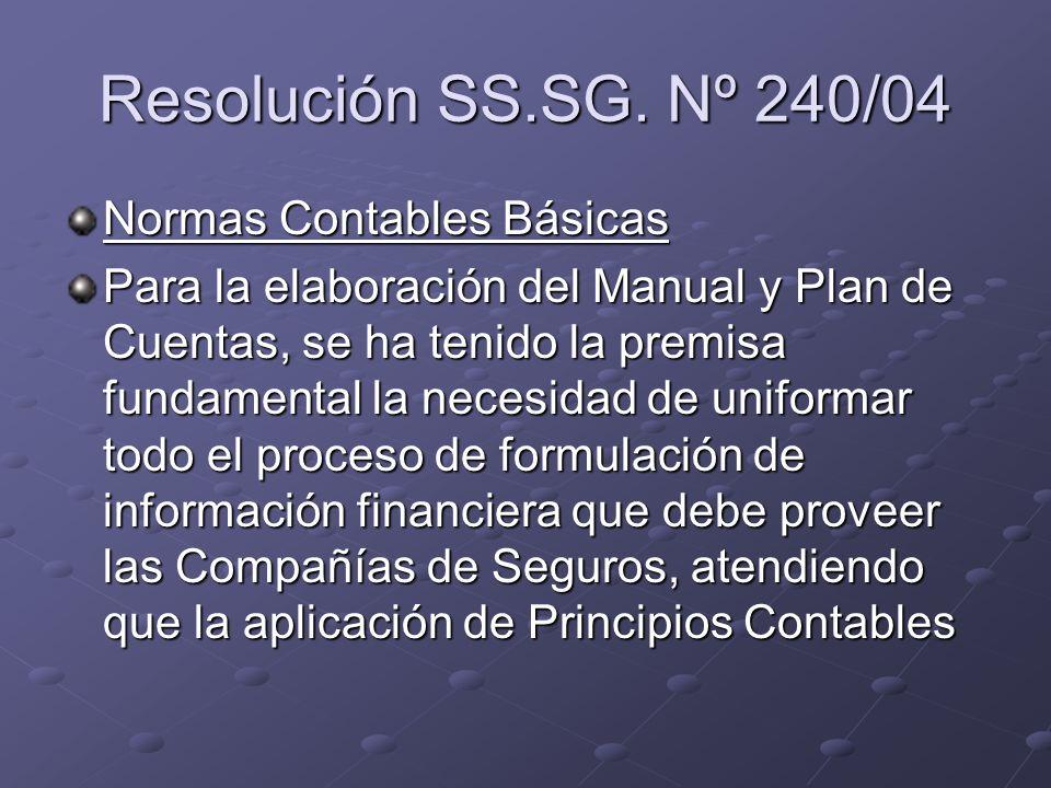 Resolución SS.SG. Nº 240/04 Normas Contables Básicas Para la elaboración del Manual y Plan de Cuentas, se ha tenido la premisa fundamental la necesida