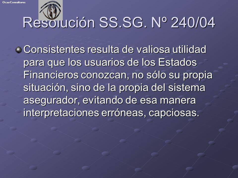Resolución SS.SG. Nº 240/04 Consistentes resulta de valiosa utilidad para que los usuarios de los Estados Financieros conozcan, no sólo su propia situ