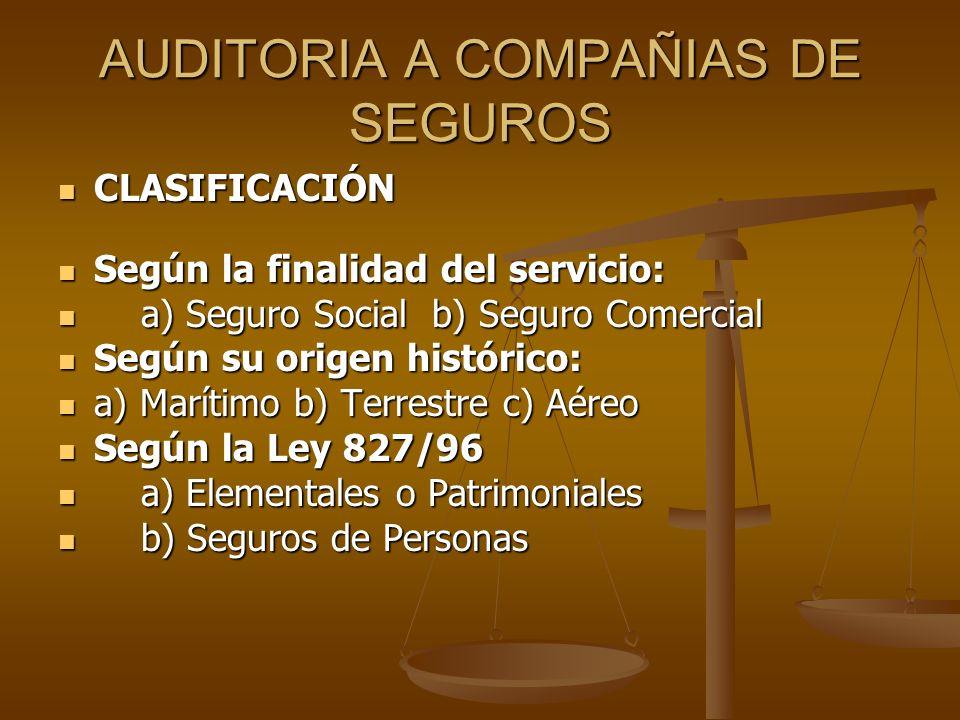 AUDITORIA A COMPAÑIAS DE SEGUROS CLASIFICACIÓN CLASIFICACIÓN Según la finalidad del servicio: Según la finalidad del servicio: a) Seguro Social b) Seg