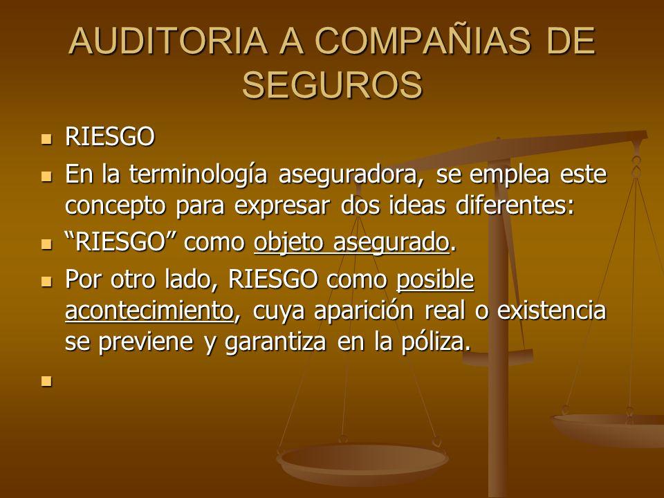 AUDITORIA A COMPAÑIAS DE SEGUROS RIESGO RIESGO En la terminología aseguradora, se emplea este concepto para expresar dos ideas diferentes: En la termi
