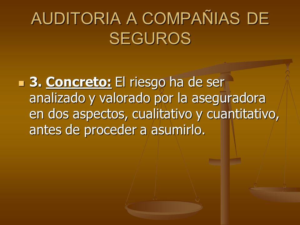 AUDITORIA A COMPAÑIAS DE SEGUROS 3. Concreto: El riesgo ha de ser analizado y valorado por la aseguradora en dos aspectos, cualitativo y cuantitativo,
