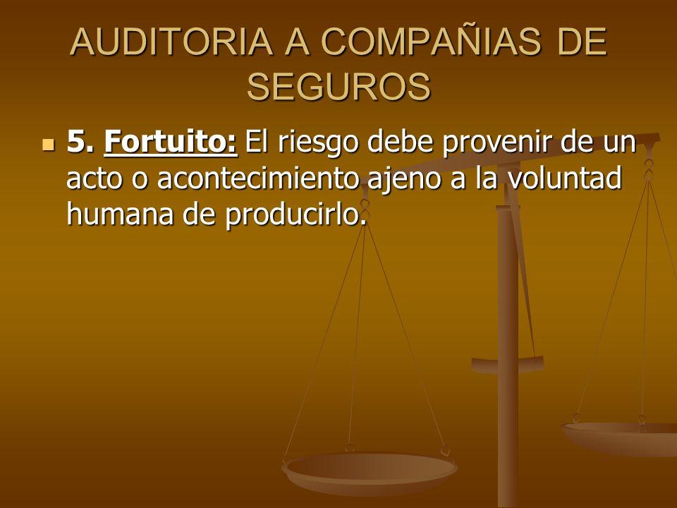 AUDITORIA A COMPAÑIAS DE SEGUROS 5. Fortuito: El riesgo debe provenir de un acto o acontecimiento ajeno a la voluntad humana de producirlo. 5. Fortuit