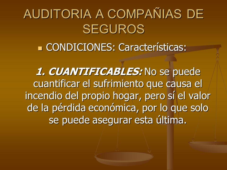 AUDITORIA A COMPAÑIAS DE SEGUROS CONDICIONES: Características: 1. CUANTIFICABLES: No se puede cuantificar el sufrimiento que causa el incendio del pro