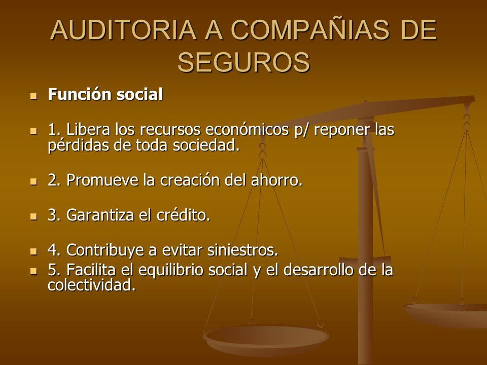 AUDITORIA A COMPAÑIAS DE SEGUROS Función social Función social 1. Libera los recursos económicos p/ reponer las pérdidas de toda sociedad. 1. Libera l