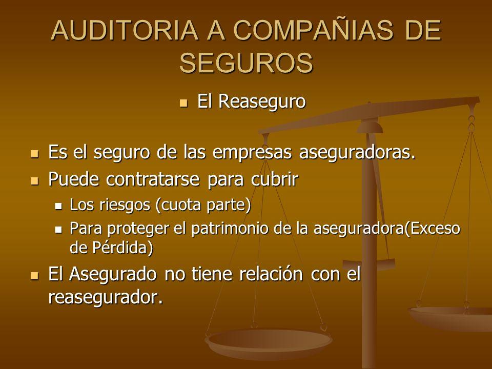 AUDITORIA A COMPAÑIAS DE SEGUROS El Reaseguro El Reaseguro Es el seguro de las empresas aseguradoras. Es el seguro de las empresas aseguradoras. Puede