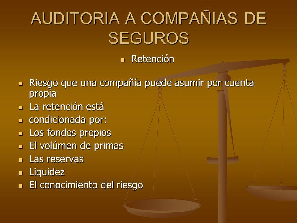 AUDITORIA A COMPAÑIAS DE SEGUROS Retención Retención Riesgo que una compañía puede asumir por cuenta propia Riesgo que una compañía puede asumir por c