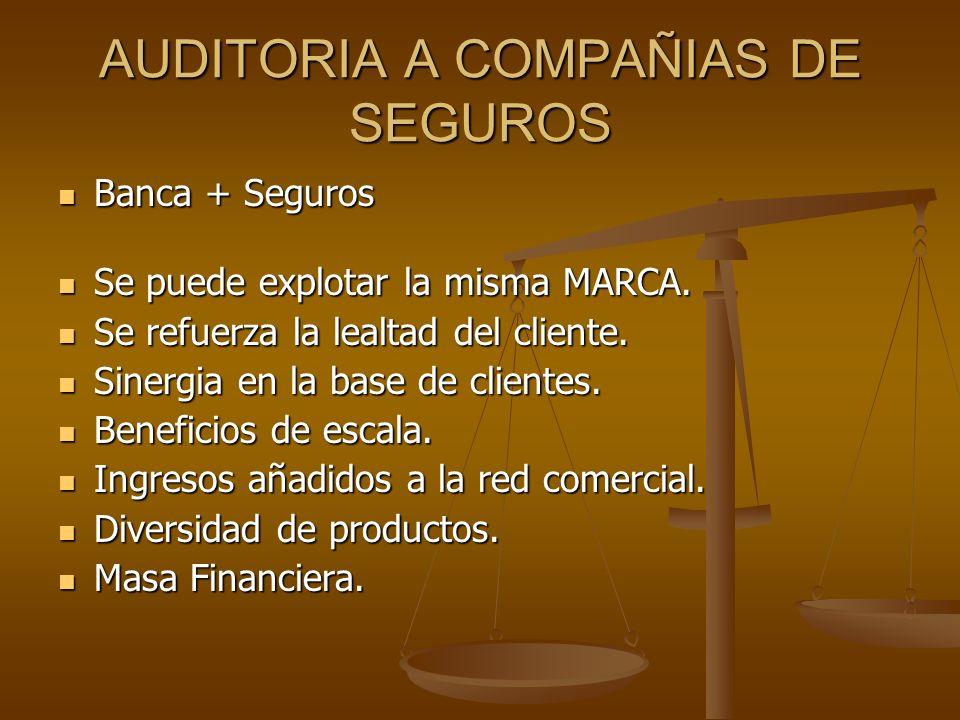 AUDITORIA A COMPAÑIAS DE SEGUROS Banca + Seguros Banca + Seguros Se puede explotar la misma MARCA. Se puede explotar la misma MARCA. Se refuerza la le