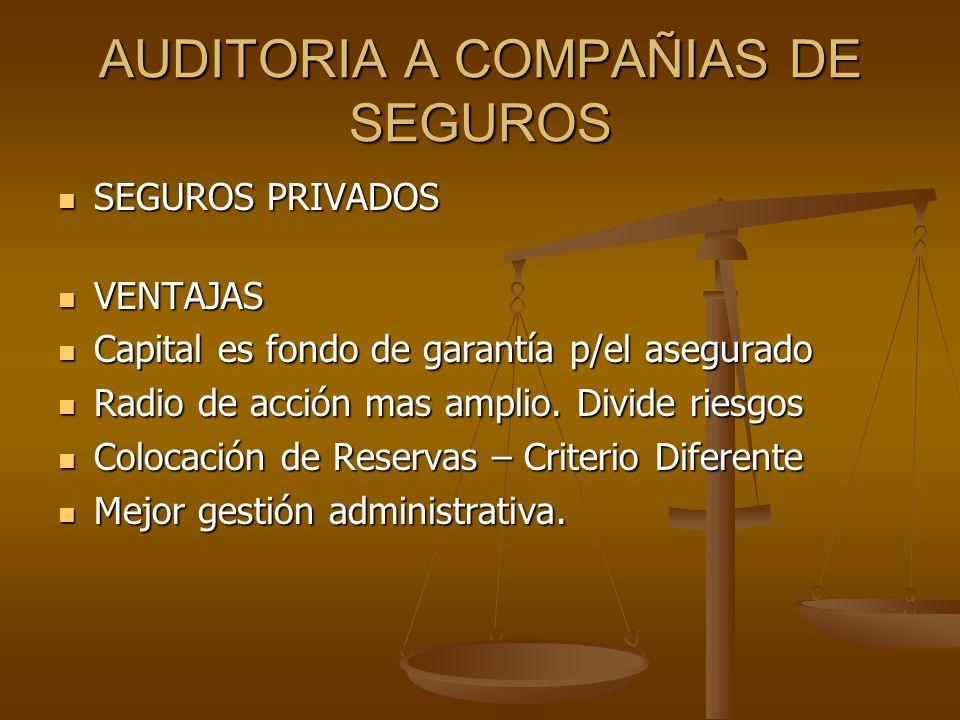 AUDITORIA A COMPAÑIAS DE SEGUROS SEGUROS PRIVADOS SEGUROS PRIVADOS VENTAJAS VENTAJAS Capital es fondo de garantía p/el asegurado Capital es fondo de g