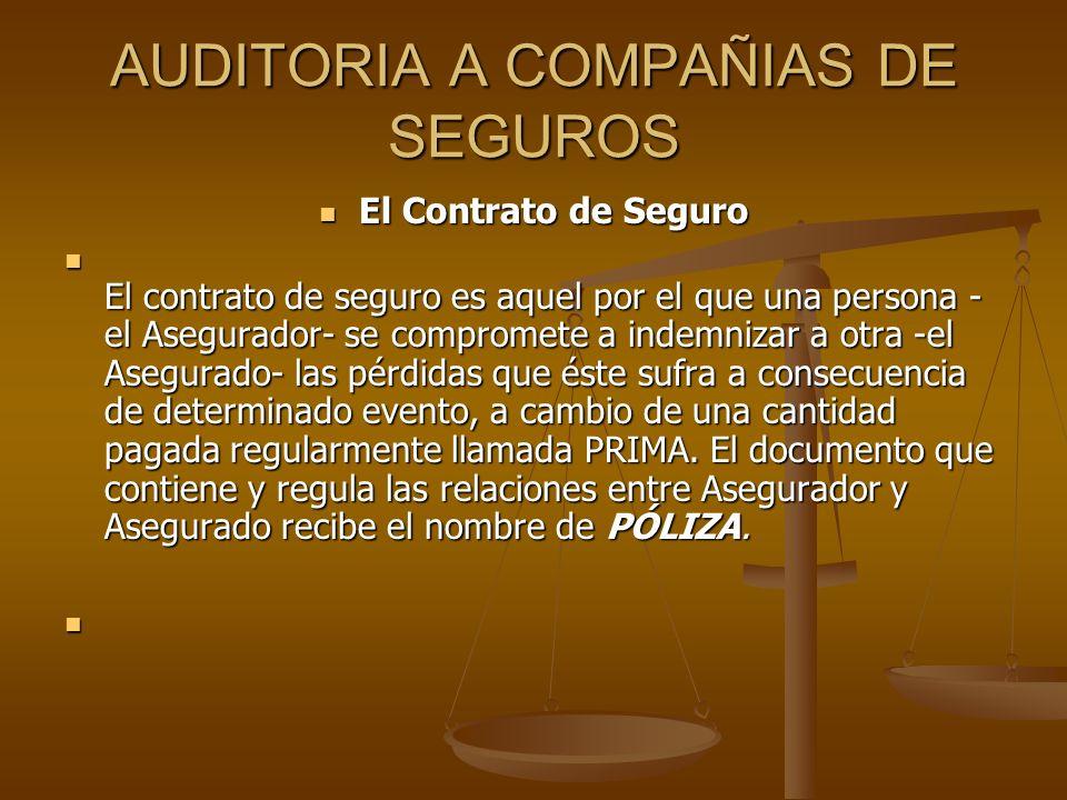 AUDITORIA A COMPAÑIAS DE SEGUROS El Contrato de Seguro El Contrato de Seguro El contrato de seguro es aquel por el que una persona - el Asegurador- se