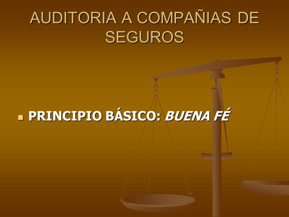 AUDITORIA A COMPAÑIAS DE SEGUROS PRINCIPIO BÁSICO: BUENA FÉ PRINCIPIO BÁSICO: BUENA FÉ