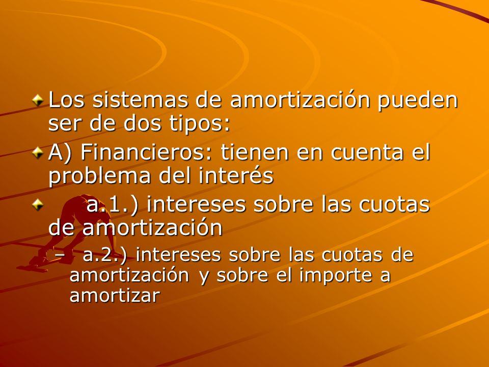 Los sistemas de amortización pueden ser de dos tipos: A) Financieros: tienen en cuenta el problema del interés a.1.) intereses sobre las cuotas de amo