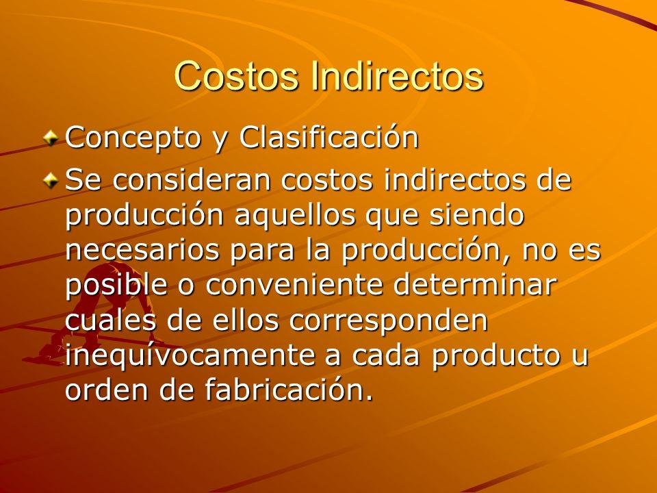 Costos Indirectos Concepto y Clasificación Se consideran costos indirectos de producción aquellos que siendo necesarios para la producción, no es posi