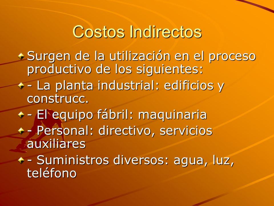 Costos Indirectos Surgen de la utilización en el proceso productivo de los siguientes: - La planta industrial: edificios y construcc. - El equipo fábr