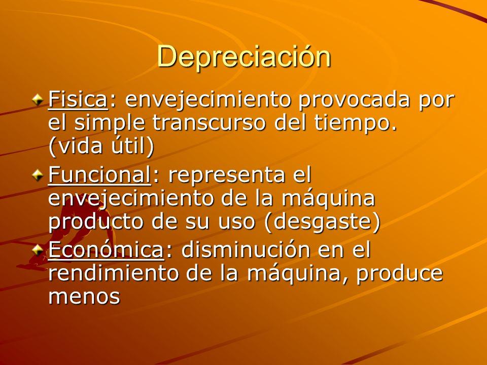 Depreciación Fisica: envejecimiento provocada por el simple transcurso del tiempo. (vida útil) Funcional: representa el envejecimiento de la máquina p