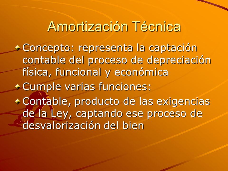 Amortización Técnica Concepto: representa la captación contable del proceso de depreciación física, funcional y económica Cumple varias funciones: Con