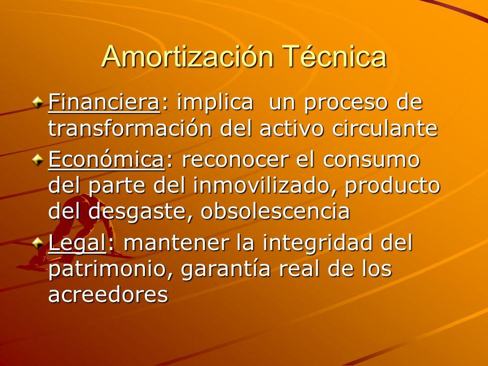 Amortización Técnica Financiera: implica un proceso de transformación del activo circulante Económica: reconocer el consumo del parte del inmovilizado