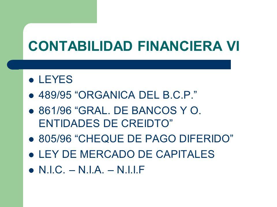 CONTABILIDAD FINANCIERA VI LEYES 489/95 ORGANICA DEL B.C.P. 861/96 GRAL. DE BANCOS Y O. ENTIDADES DE CREIDTO 805/96 CHEQUE DE PAGO DIFERIDO LEY DE MER
