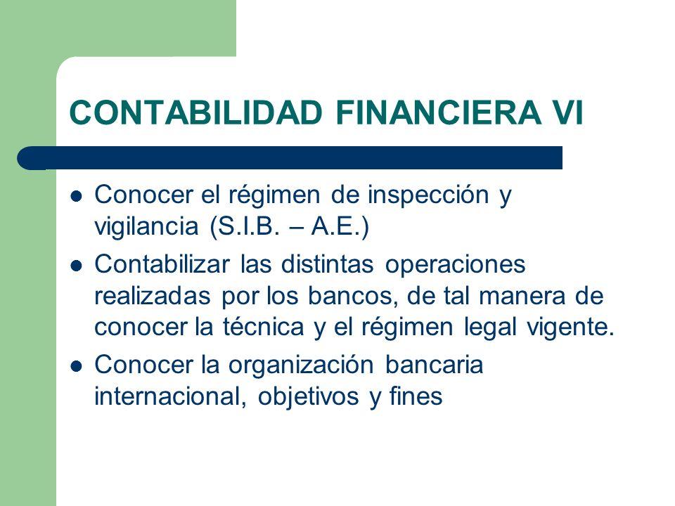 CONTABILIDAD FINANCIERA VI Conocer el régimen de inspección y vigilancia (S.I.B. – A.E.) Contabilizar las distintas operaciones realizadas por los ban