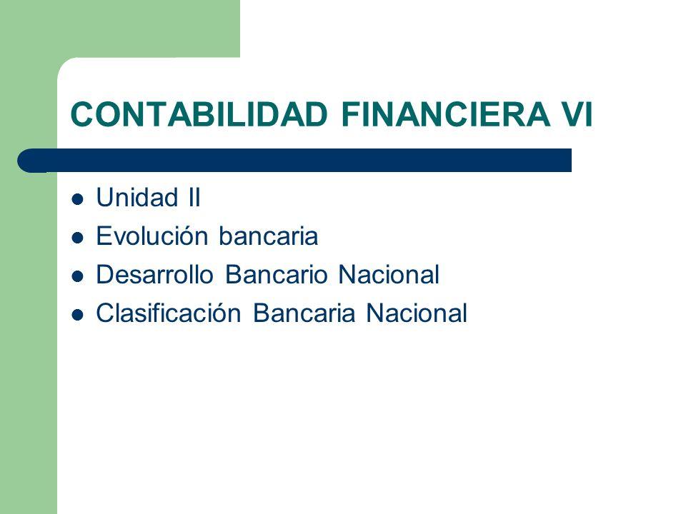 CONTABILIDAD FINANCIERA VI Unidad II Evolución bancaria Desarrollo Bancario Nacional Clasificación Bancaria Nacional