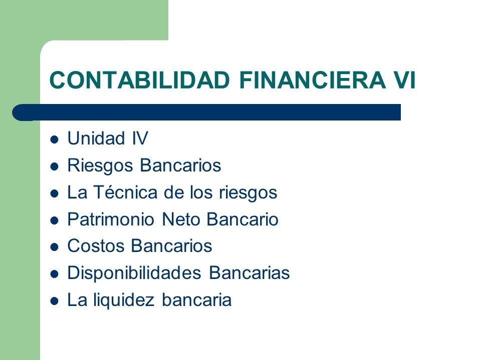 CONTABILIDAD FINANCIERA VI Unidad IV Riesgos Bancarios La Técnica de los riesgos Patrimonio Neto Bancario Costos Bancarios Disponibilidades Bancarias