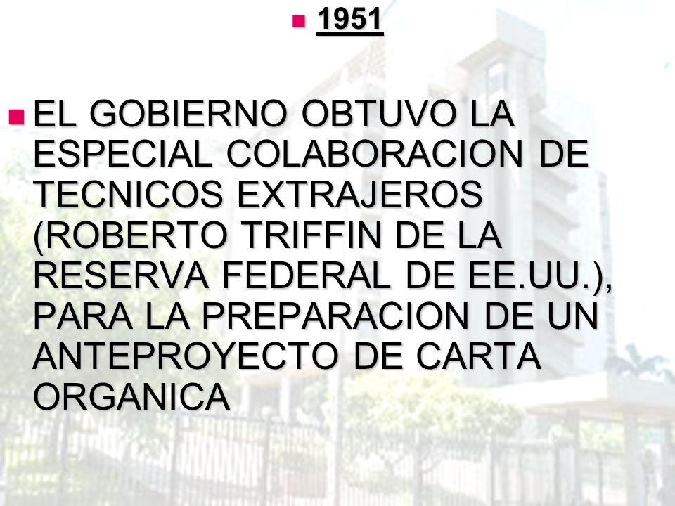1951 1951 EL GOBIERNO OBTUVO LA ESPECIAL COLABORACION DE TECNICOS EXTRAJEROS (ROBERTO TRIFFIN DE LA RESERVA FEDERAL DE EE.UU.), PARA LA PREPARACION DE