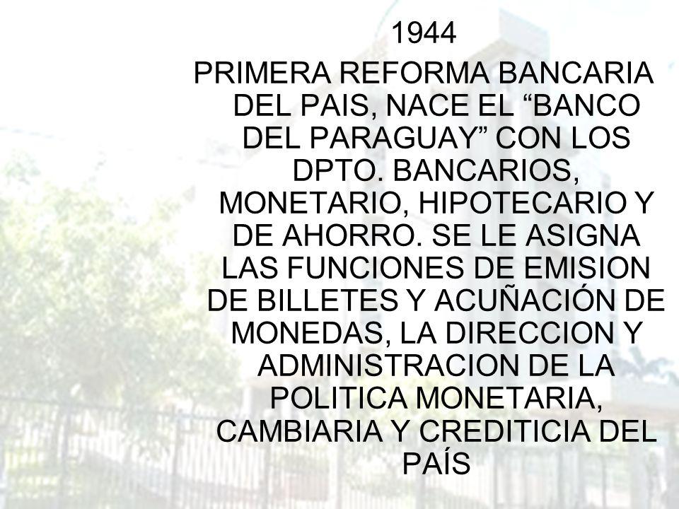 1944 PRIMERA REFORMA BANCARIA DEL PAIS, NACE EL BANCO DEL PARAGUAY CON LOS DPTO. BANCARIOS, MONETARIO, HIPOTECARIO Y DE AHORRO. SE LE ASIGNA LAS FUNCI