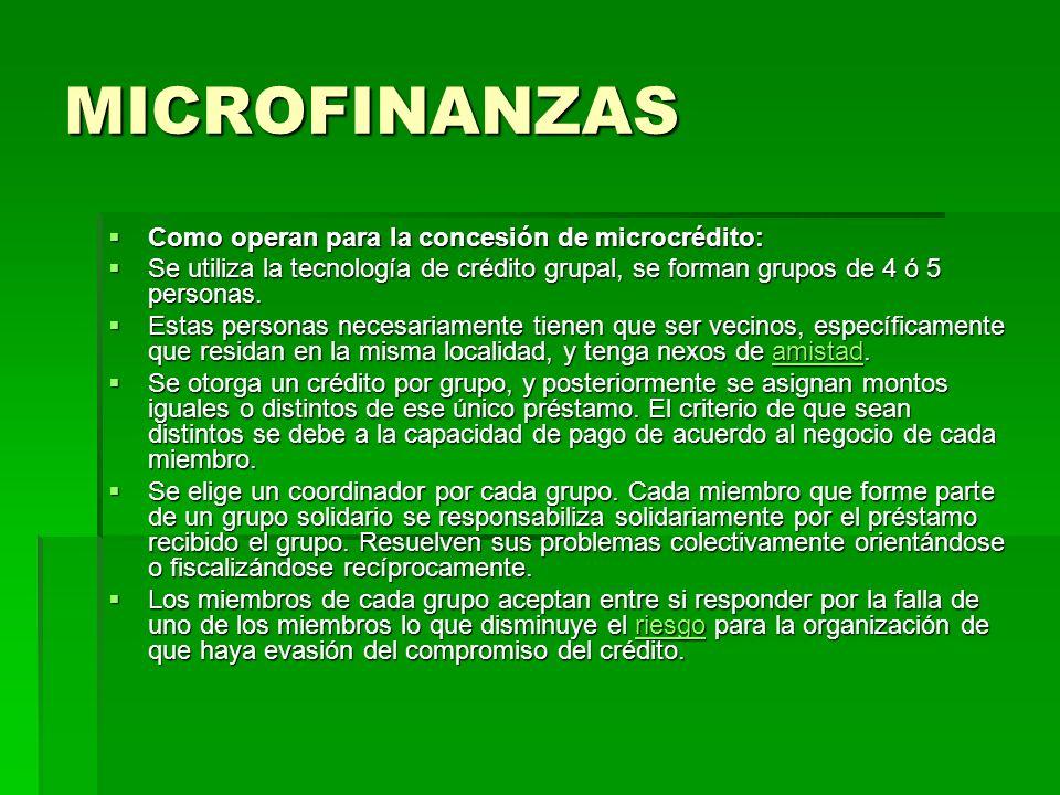 MICROFINANZAS Como operan para la concesión de microcrédito: Como operan para la concesión de microcrédito: Se utiliza la tecnología de crédito grupal