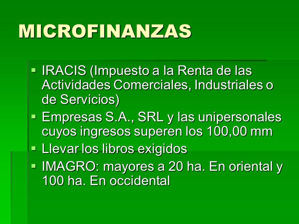 MICROFINANZAS IRACIS (Impuesto a la Renta de las Actividades Comerciales, Industriales o de Servicios) IRACIS (Impuesto a la Renta de las Actividades
