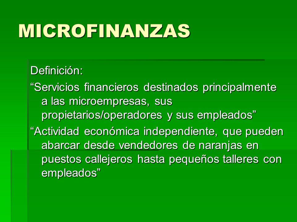 MICROFINANZAS Microcrédito: definición y perfil de riesgo Microcrédito: definición y perfil de riesgo Definición: Definición: Préstamo de monto bajo (generalmente inferior a los U$S 10.000), que no esta garantizado (c/garantía real), otorgado a trabajadores por cuenta propia (a los que también se denomina microempresarios), quienes no llevan registros contable ni operacionales de sus actividades y suelen trabajar en el sector informal de la economía Préstamo de monto bajo (generalmente inferior a los U$S 10.000), que no esta garantizado (c/garantía real), otorgado a trabajadores por cuenta propia (a los que también se denomina microempresarios), quienes no llevan registros contable ni operacionales de sus actividades y suelen trabajar en el sector informal de la economía