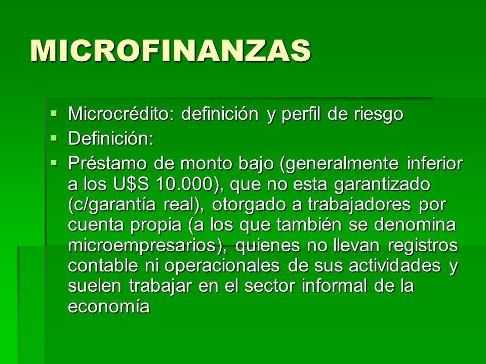 MICROFINANZAS Microcrédito: definición y perfil de riesgo Microcrédito: definición y perfil de riesgo Definición: Definición: Préstamo de monto bajo (
