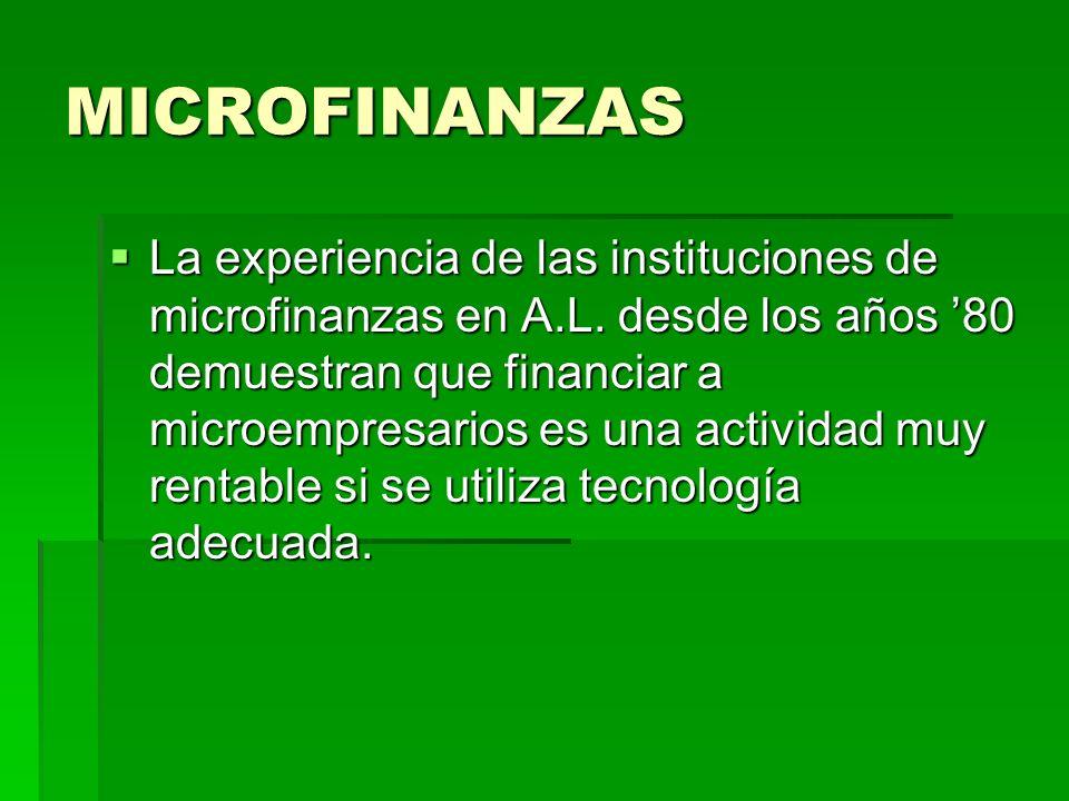 MICROFINANZAS La experiencia de las instituciones de microfinanzas en A.L. desde los años 80 demuestran que financiar a microempresarios es una activi