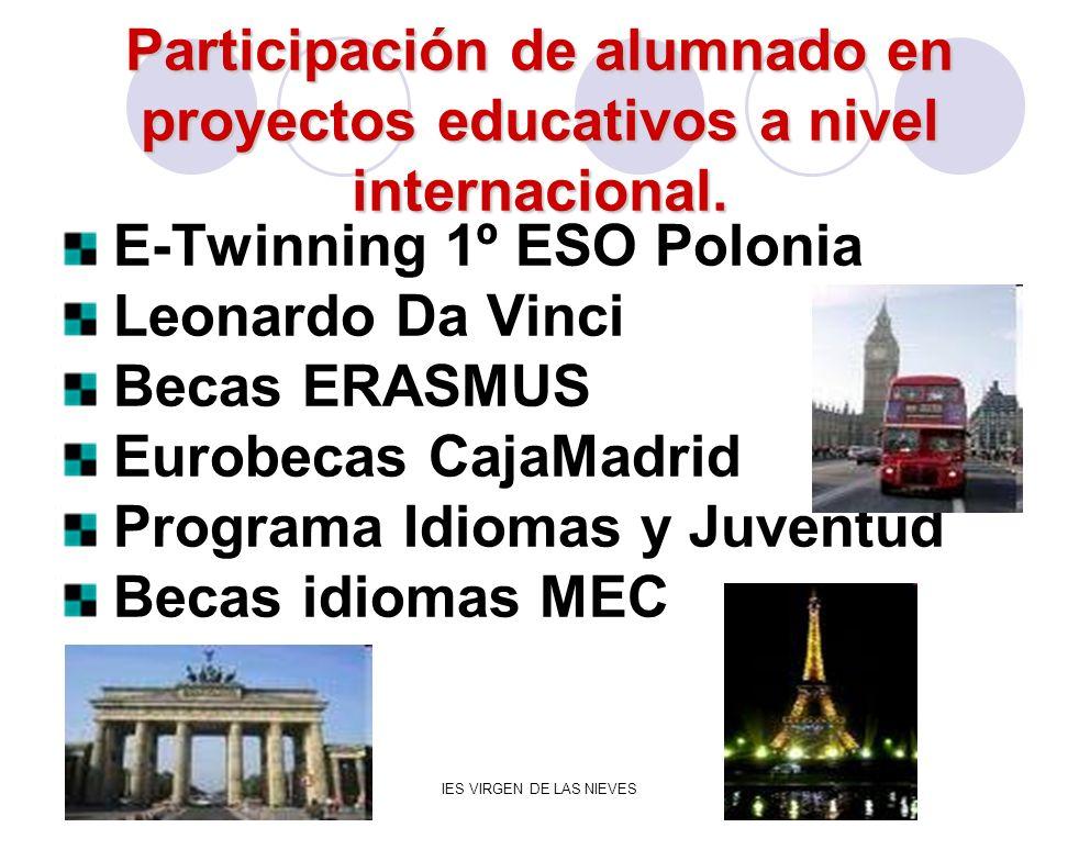 IES VIRGEN DE LAS NIEVES Participación de alumnado en proyectos educativos a nivel internacional. E-Twinning 1º ESO Polonia Leonardo Da Vinci Becas ER