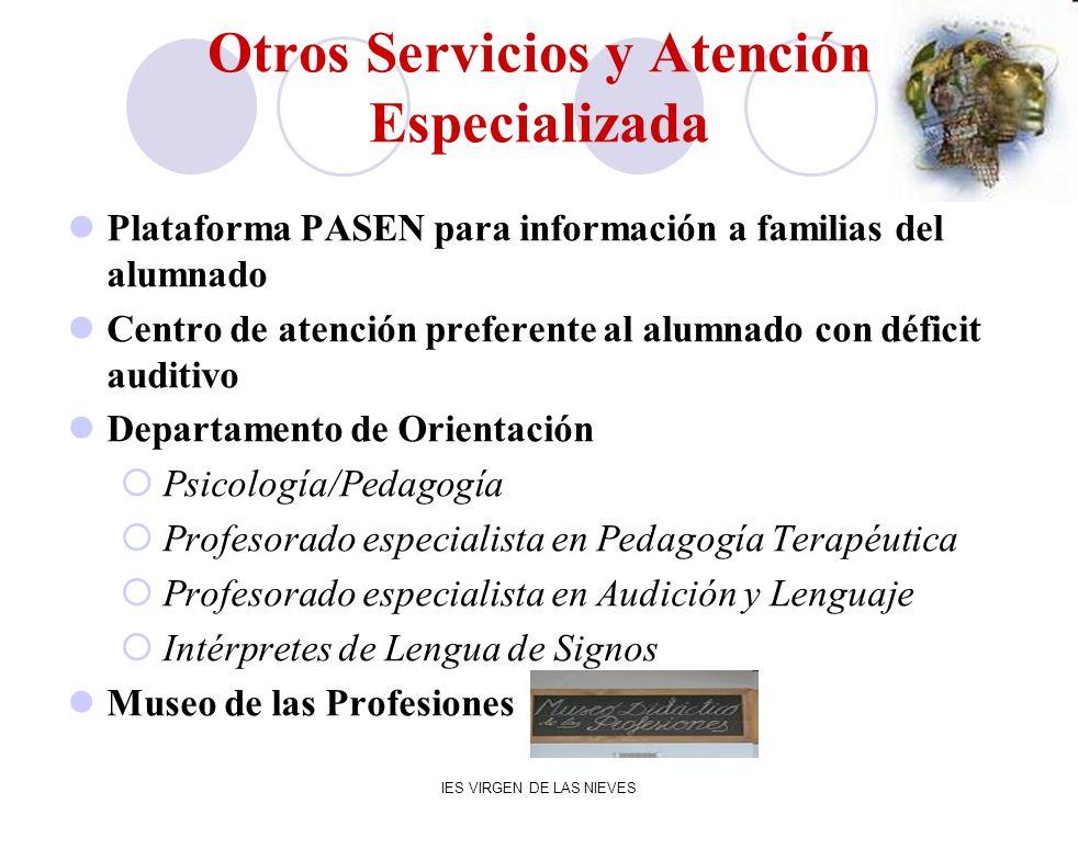 IES VIRGEN DE LAS NIEVES Otros Servicios y Atención Especializada Plataforma PASEN para información a familias del alumnado Centro de atención prefere