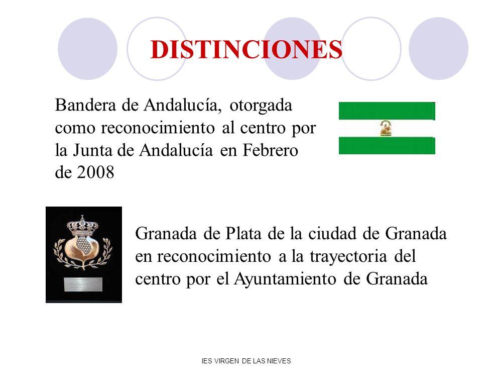 IES VIRGEN DE LAS NIEVES DISTINCIONES Granada de Plata de la ciudad de Granada en reconocimiento a la trayectoria del centro por el Ayuntamiento de Gr