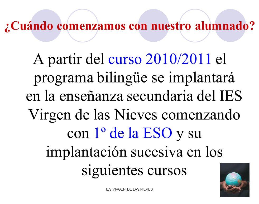 IES VIRGEN DE LAS NIEVES ¿Cuándo comenzamos con nuestro alumnado? A partir del curso 2010/2011 el programa bilingüe se implantará en la enseñanza secu