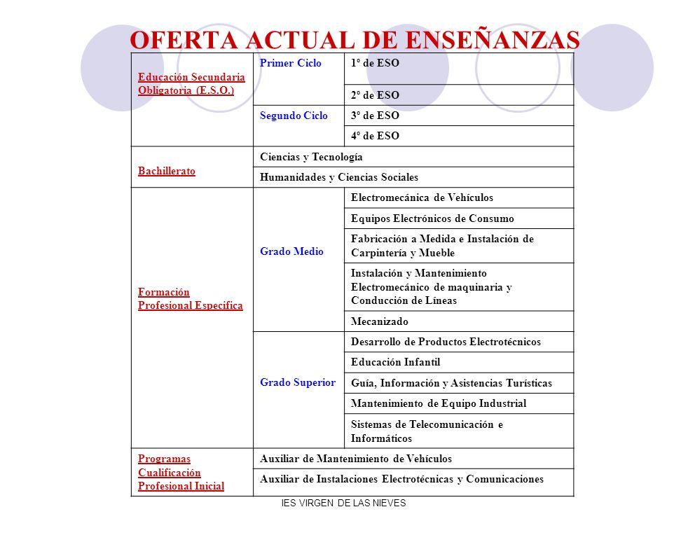 IES VIRGEN DE LAS NIEVES OFERTA ACTUAL DE ENSEÑANZAS Educación Secundaria Obligatoria (E.S.O.) Primer Ciclo1º de ESO 2º de ESO Segundo Ciclo3º de ESO