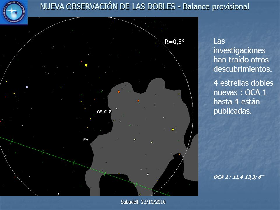 NUEVA OBSERVACIÓN DE LAS DOBLES - Balance provisional Sabadell, 23/10/2010 Las investigaciones han traído otros descubrimientos.