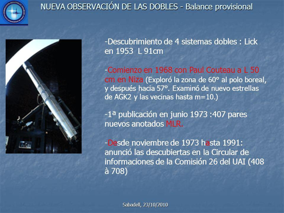 NUEVA OBSERVACIÓN DE LAS DOBLES - Balance provisional Sabadell, 23/10/2010 -Descubrimiento de 4 sistemas dobles : Lick en 1953 L 91cm -Comienzo en 1968 con Paul Couteau a L 50 cm en Niza (Exploró la zona de 60° al polo boreal, y después hacia 57°.