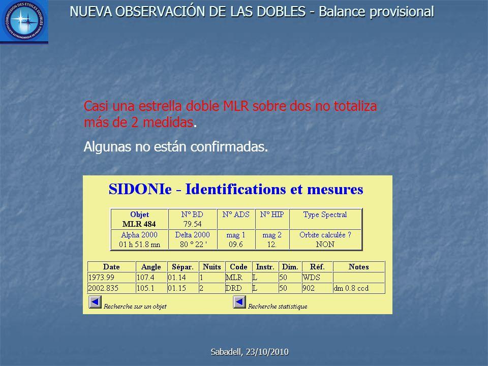 NUEVA OBSERVACIÓN DE LAS DOBLES - Balance provisional Sabadell, 23/10/2010 Varias decenas de objetos no tienen identificación, quizás erróneos.