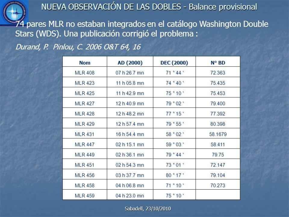 NUEVA OBSERVACIÓN DE LAS DOBLES - Balance provisional Sabadell, 23/10/2010 74 pares MLR no estaban integrados en el catálogo Washington Double Stars (WDS).