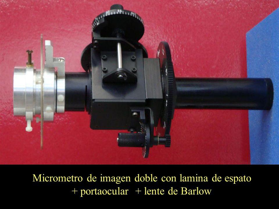 13 Micrometro de imagen doble con lamina de espato + portaocular + lente de Barlow