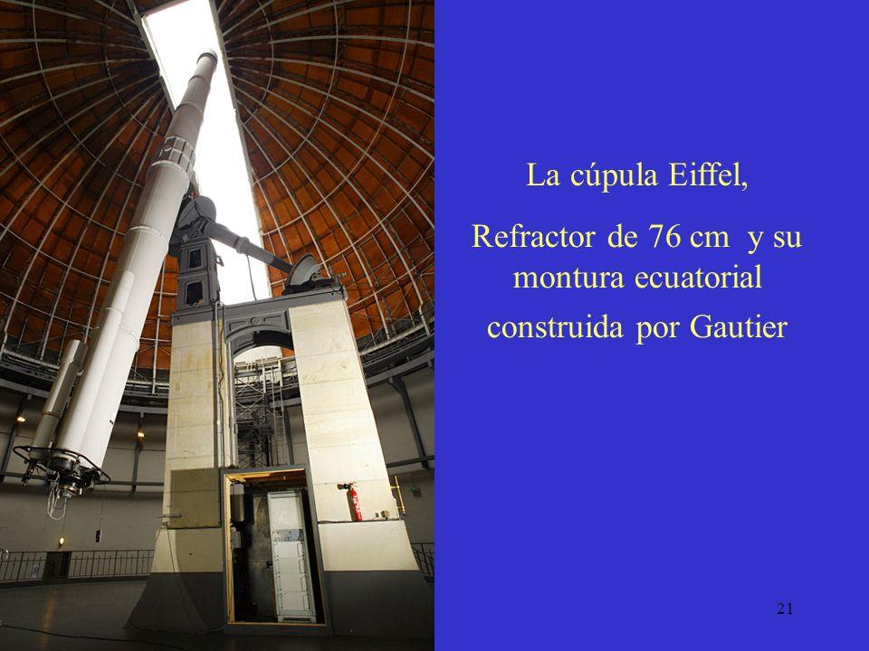21 Refractor de 76 cm y su montura ecuatorial construida por Gautier La cúpula Eiffel,